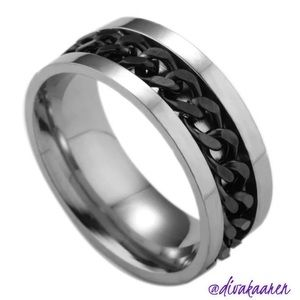 Other - Two Toned Titanium Men's Steel Band/Ring